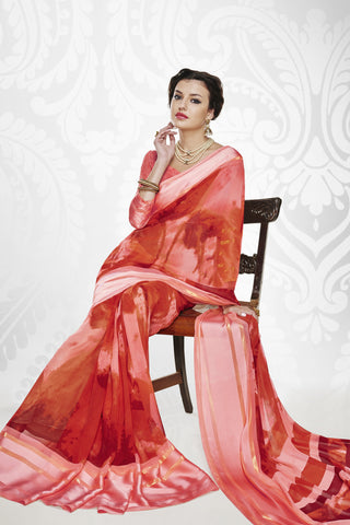 Designer Party wear Saree:atisundar Charismatic Designer Printed Saree with Fancy Border in Satin Georgette in Red And Pink  - 10765 - atisundar - 5 - click to zoom