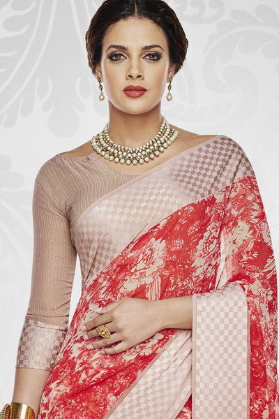 Designer Party wear Saree:atisundar dazzling Designer Printed Saree with Fancy Border in Satin Georgette in Red And Cream  - 10768 - atisundar - 3 - click to zoom