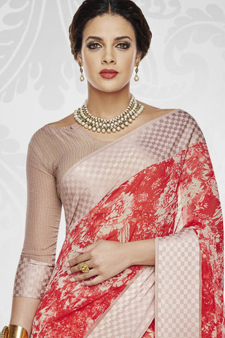 Designer Party wear Saree:atisundar dazzling Designer Printed Saree with Fancy Border in Satin Georgette in Red And Cream  - 10768 - atisundar - 3