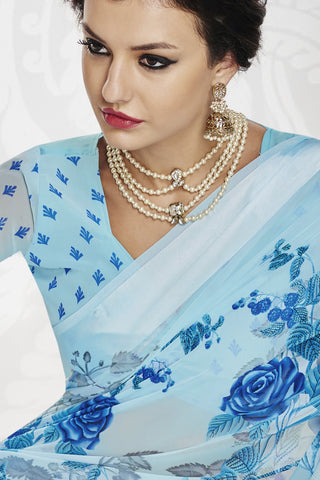 Designer Partywear Saree:atisundar radiant Designer Printed Saree with Fancy Border in Satin Georgette in Sky Blue  - 10766 - atisundar - 3 - click to zoom