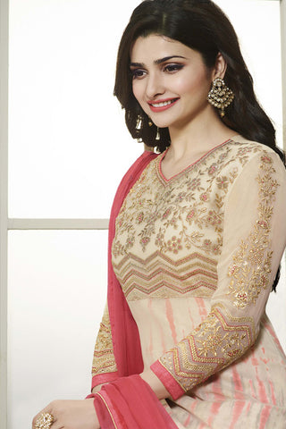 The Prachi Desai Collection:atisundar divine Cream Designer Embroidered Partywear Suits in Straight Cut - 10498 - atisundar - 4