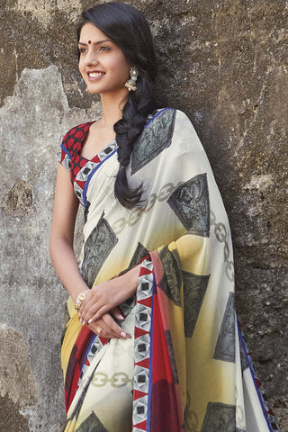 Kabiree:atisundar   charming Printed Designer Saree with Border in Red  - 4478 - atisundar - 4