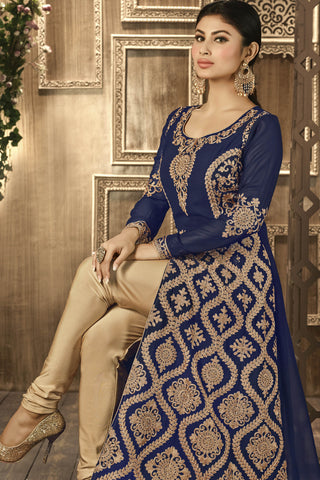 Designer Bollywood Anarkali Featuring Mouni Roy: atisundar graceful Navy Blue And Cream Designer Embroidered Bollywood Anarkali - 11170 - atisundar - 5 - click to zoom