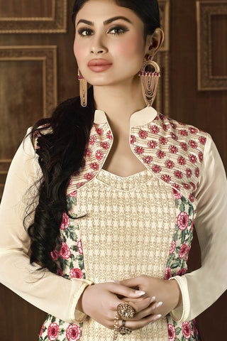 Designer Straight Cut Featuring Mouni Roy: atisundar splendid Cream Designer Embroidered Party Wear Straight Cut In Faux Georgette - 11152 - atisundar - 5