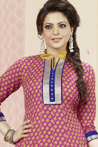 Aamna Shariff Printed Poly Cotton Anarkali:atisundar excellent Pink Printed Ready to Stitch Anarkali - 6078 - atisundar - 5
