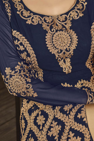 Designer Bollywood Anarkali Featuring Mouni Roy: atisundar graceful Navy Blue And Cream Designer Embroidered Bollywood Anarkali - 11170 - atisundar - 4 - click to zoom