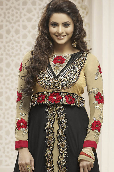 Heeba Party Wear Anarkali Featuring Aamna Sharif:atisundar admirable   in Cream And Black - 5108 - atisundar - 4 - click to zoom