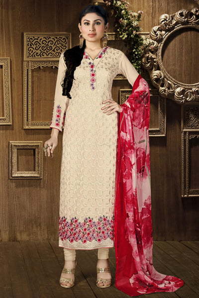 Designer Straight Cut Featuring Mouni Roy: atisundar Charismatic Cream Designer Embroidered Party Wear Straight Cut In Faux Georgette - 11154 - atisundar - 4 - click to zoom