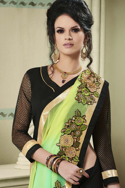 Designer Party wear Saree:atisundar Awesome Party wear Sarees with designer blouses and embroidered border in Green And Black  - 10752 - atisundar - 3 - click to zoom