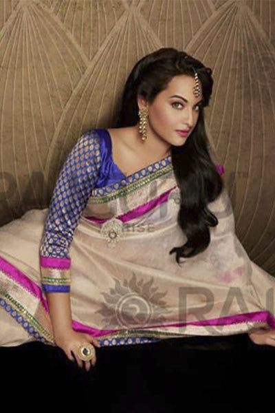 Rajguru Lotus Featuring Sonakshi:atisundar   angelic Bollywood Designer Saree in Cream  - 4540 - atisundar - 1 - click to zoom