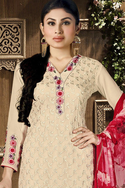 Designer Straight Cut Featuring Mouni Roy: atisundar Charismatic Cream Designer Embroidered Party Wear Straight Cut In Faux Georgette - 11154 - atisundar - 5 - click to zoom