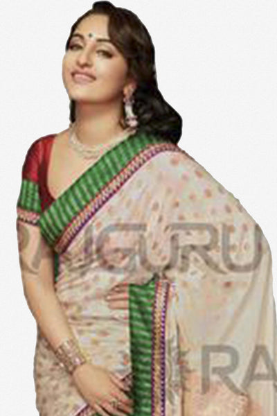 Rajguru Lotus Featuring Sonakshi:atisundar   enticing Bollywood Designer Saree in White  - 4541 - atisundar - 2 - click to zoom