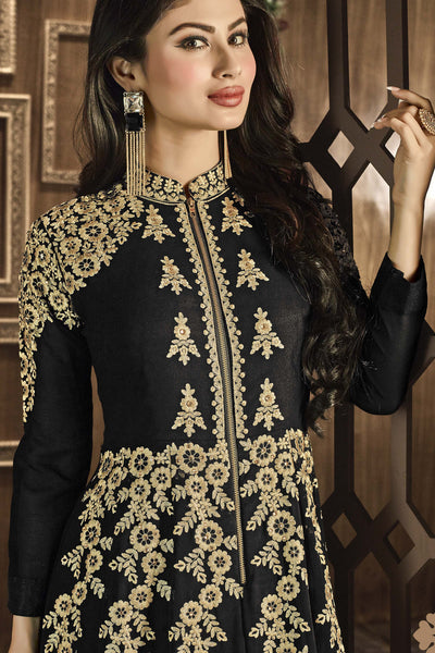 Designer Bollywood Anarkali Featuring Mouni Roy: atisundar fair Black And Cream Designer Embroidered Bollywood Anarkali - 11168 - atisundar - 4 - click to zoom