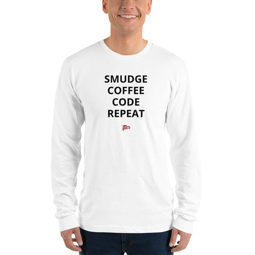 Smudge Coffee Code Repeat | Long Sleeve T-Shirt