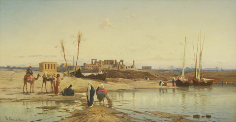 Resting before the temple of Karnak, by Hermann Corrodi
