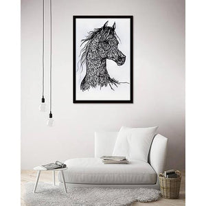 Calligraphy Horse on living room wall