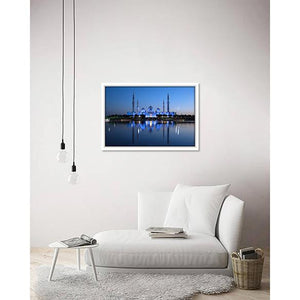 A Blue Grand Mosque on living room wall