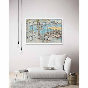 Abras at Rest, Dubai Creek on living room wall