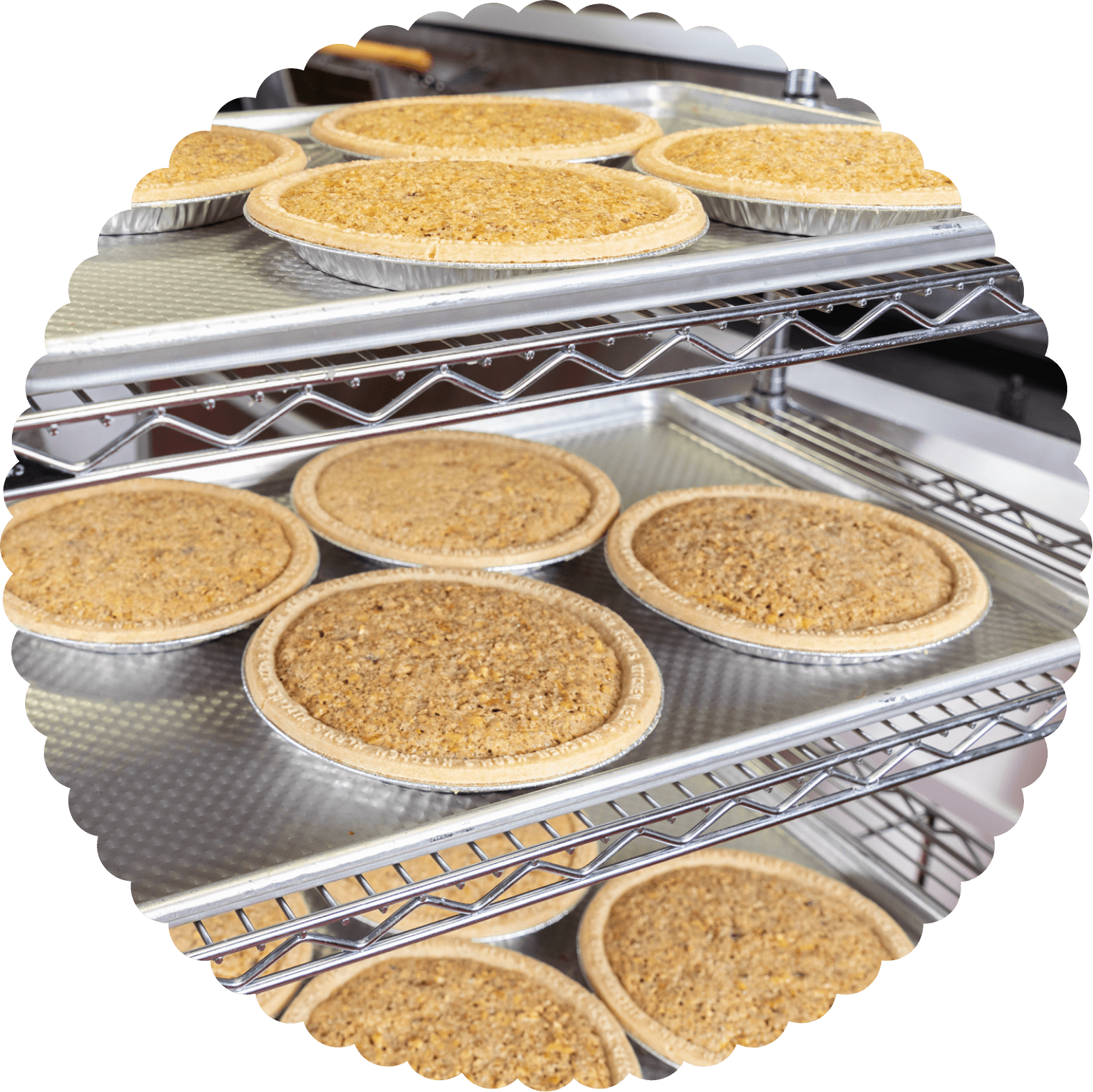 Pies baking on an oven rack