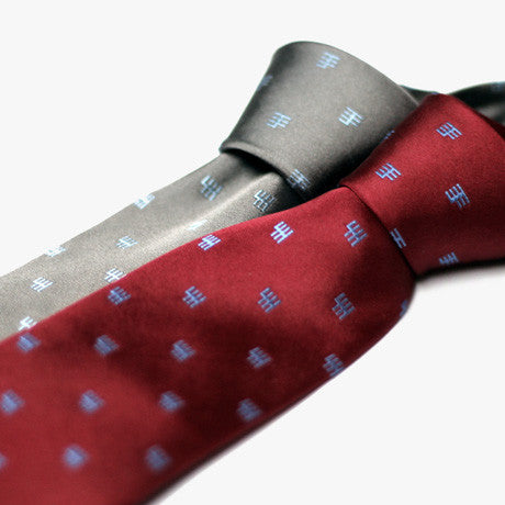 Gated Shifter neck tie from blipshift, available in red & grey