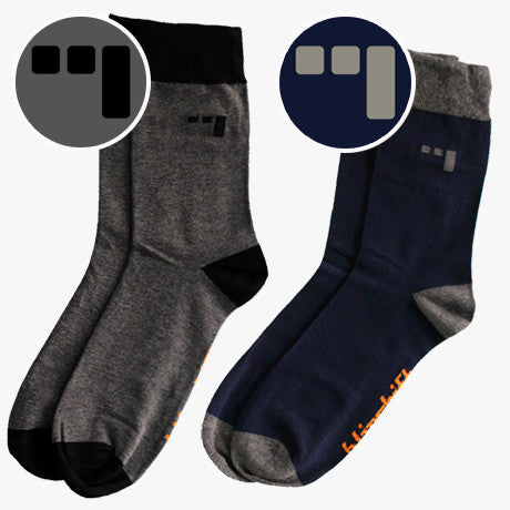 (Three) 3 Pedal socks by Blipshift, available in grey & navy
