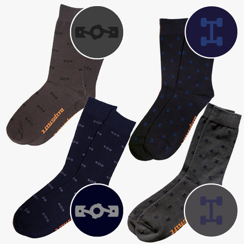 This 4 Pair Bundle includes one each of Grey Flatspiracy, Navy Flatspiracy, Grey Awdsome and Navy Awdsome.
