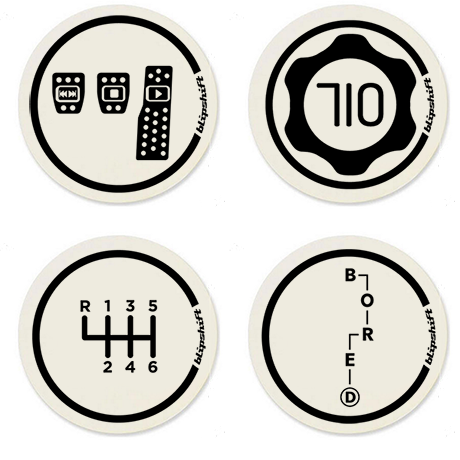 DJ Footwerk, 710, B-O-R-E-D, and 6-speed manual coasters