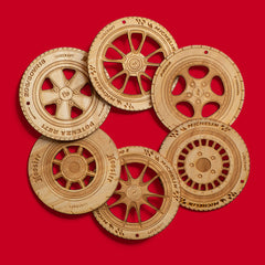 Lugcraft Engraved Wheels Ornaments / Coaster Set