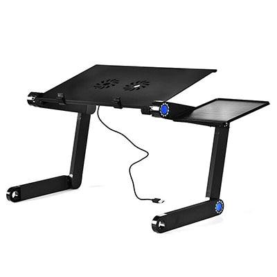 Image of Magic Union Aluminum Alloy Laptop Table Folding Notebook Desktop Stand With Cooling Fan Bed Laptop Tray Desk Study Desk