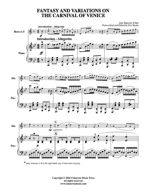 All Music Chords free french horn sheet music : Fantasy and Variations on the Carnival of Venice - Arban/Ruske ...