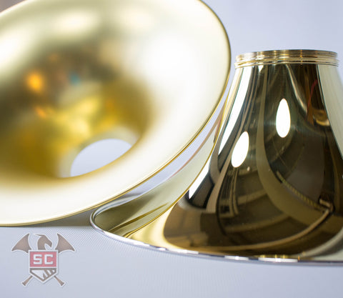 Used E. Schmid Wide Brass Spun Lacquered with Engraved Kranz 372g