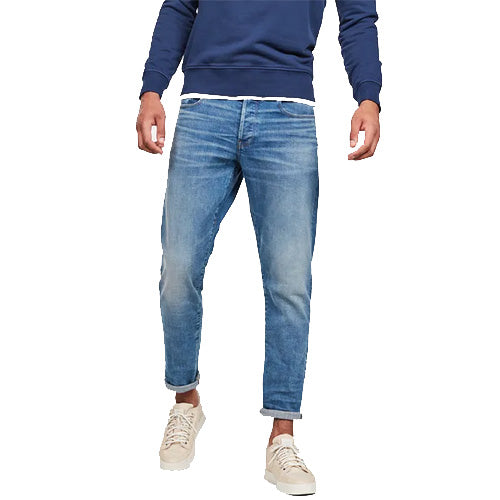3301 Straight Tapered Jeans-Worn in Azure