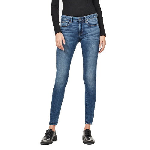 3301 Mid Skinny Jeans-Faded Indigo Destroyed