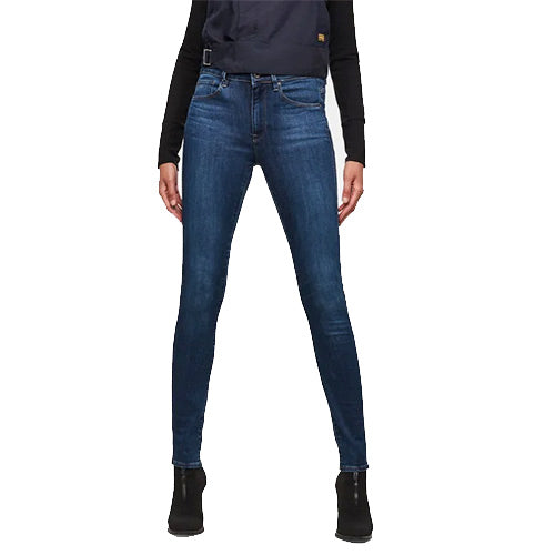 3301 High Waist Skinny Jeans-Medium Blue Aged