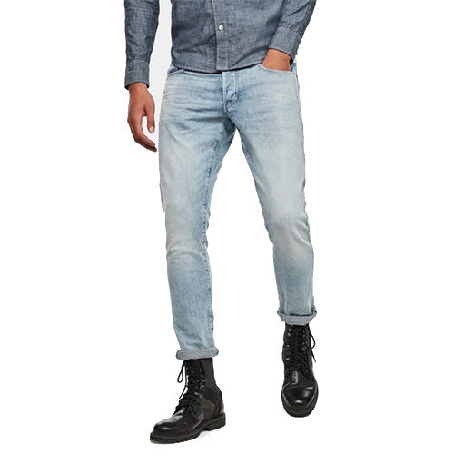 3301 Straight Tapered Jeans-Sun Faded Arctic