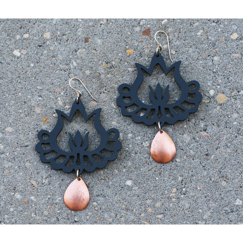 Black Flaming Lotus with Copper