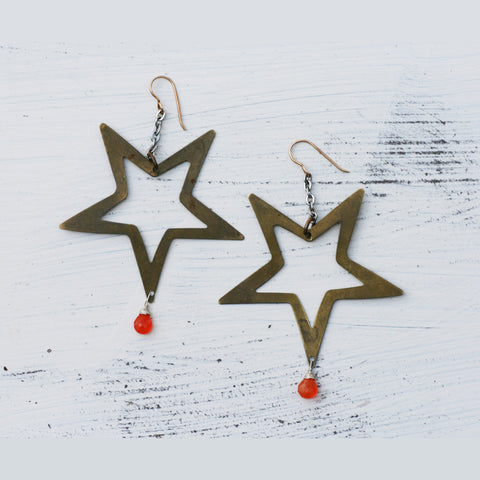 Carnelian Star Earrings