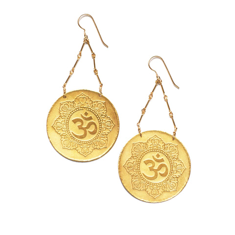 24k vermeil OM earrings
