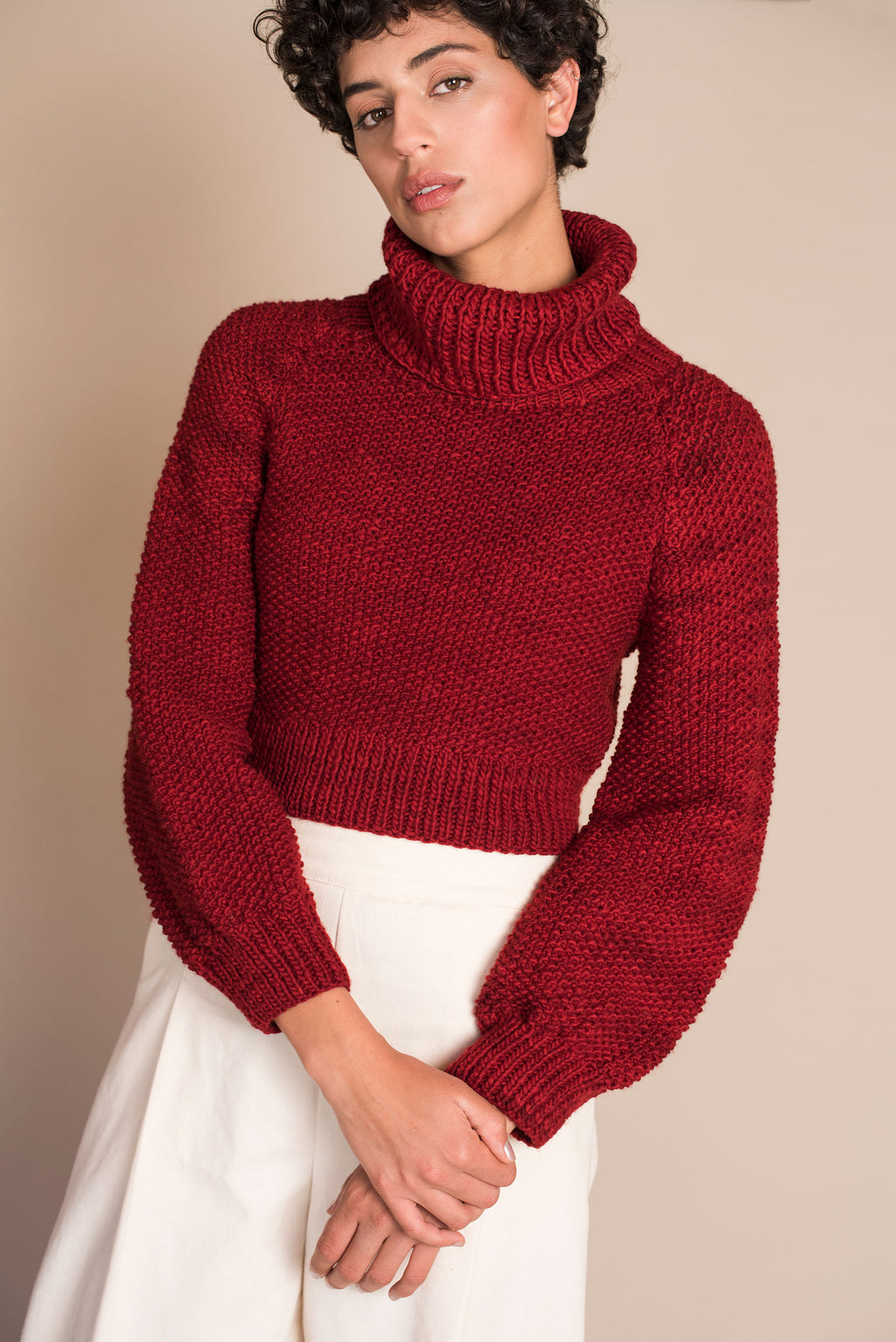 MARTE Crop Sweater in Red