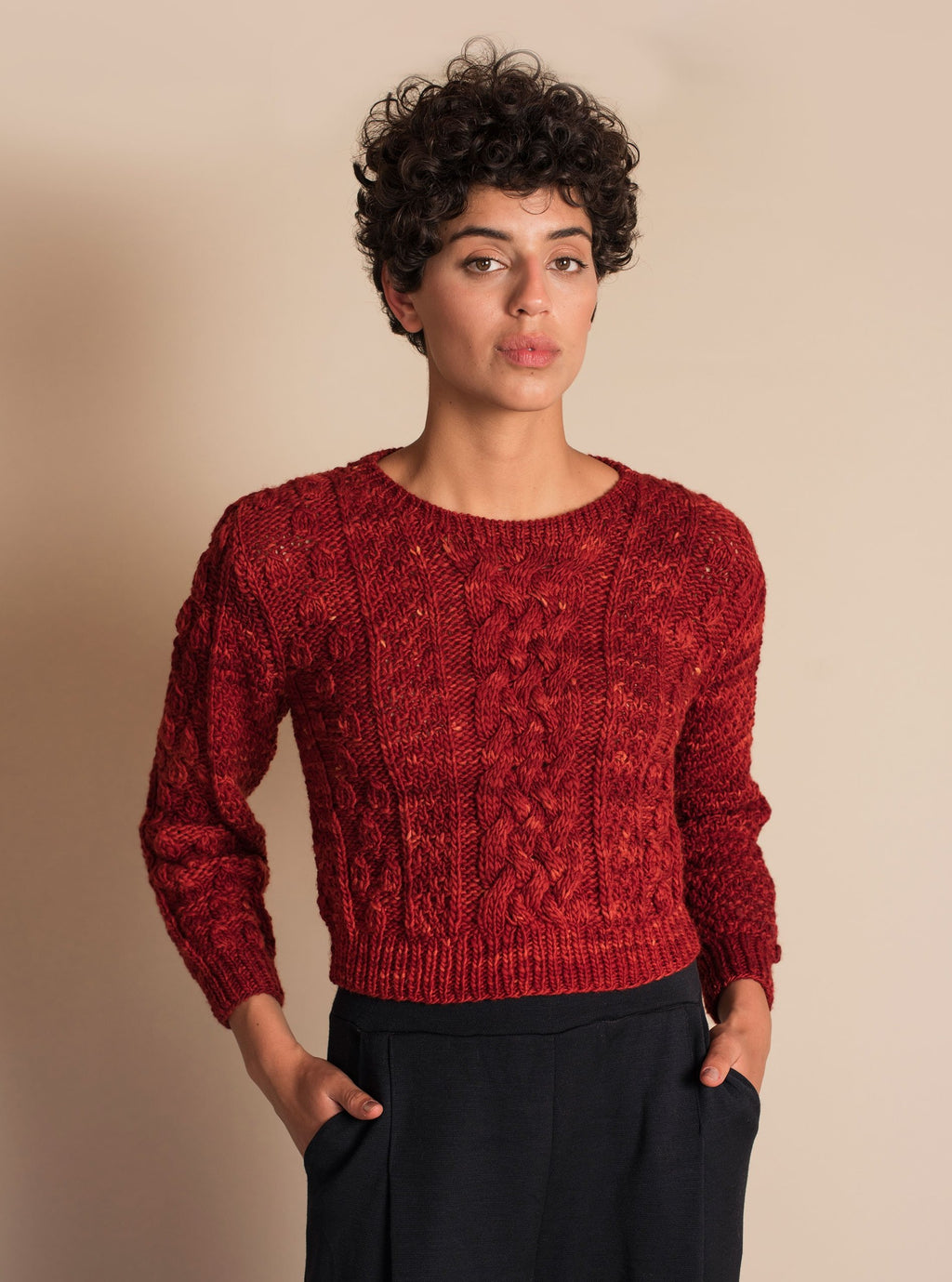 CANASTA Crop Sweater in Red