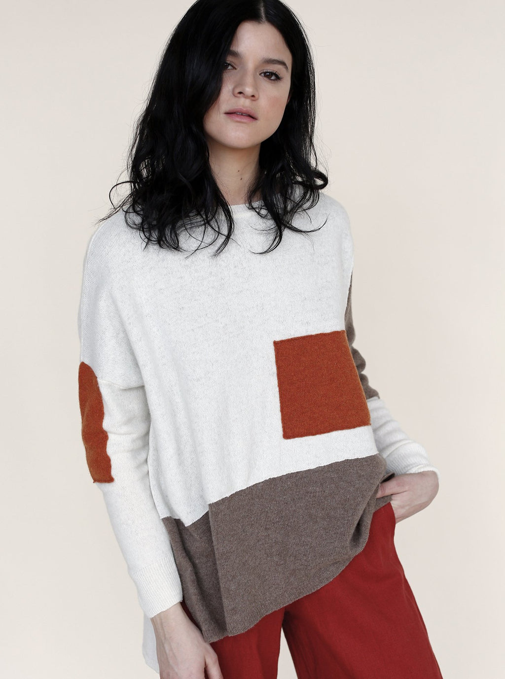 PATCHWORK Sweater in Ecru