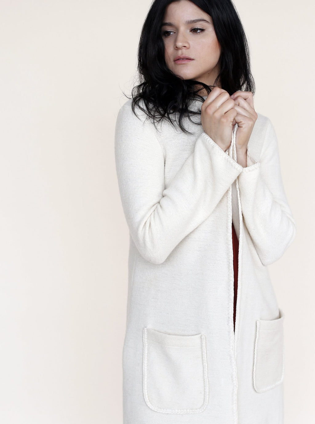 long cardigan in ivory