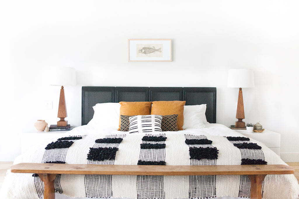 MOSAICO Blanket in Ecru and Black