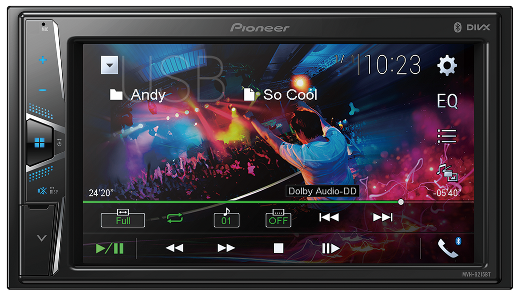 Pioneer MVH-G215BT - In-Dash Double-DIN Digital Media - Bluetooth