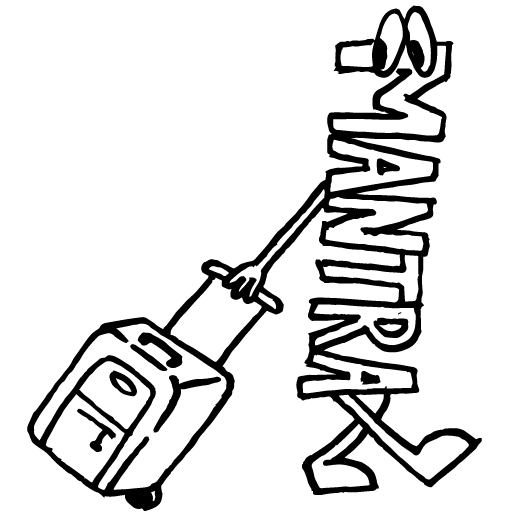 funny mantra carrying luggage pencil drawing