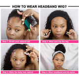Curly Headband Wigs For Sale 100% Human Hair