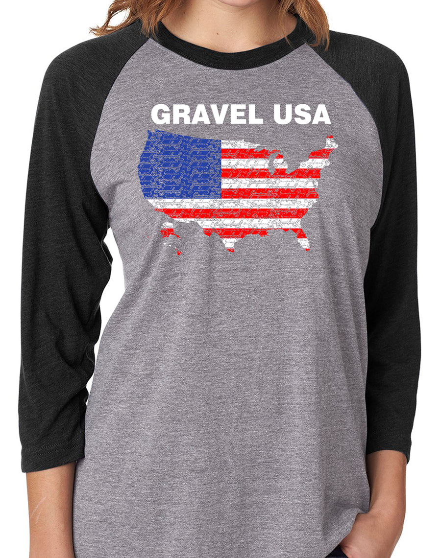 Grimpeur Bros. Gravel USA 2019 3/4 Sleeve Heather Grey T-Shirt