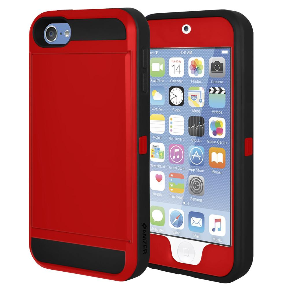 AMZER Shockproof Full Body Hybrid Credit Card Case With Holster for iPod Touch 5th Gen - Red/ Black