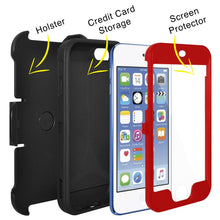 Load image into Gallery viewer, AMZER Shockproof Full Body Hybrid Credit Card Case With Holster for iPod Touch 5th Gen - Red/ Black