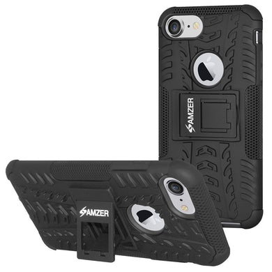 AMZER Hybrid  Warrior Dual Layer Case With Kickstand for iPhone 7, iPhone SE 2020 - Black/Black